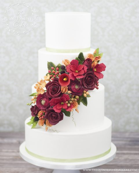 Fall Wedding Cake with Sugar Flowers | The Quintessential Cake | Chicago | Luxury Wedding Cakes | Garfield Park Conservatory