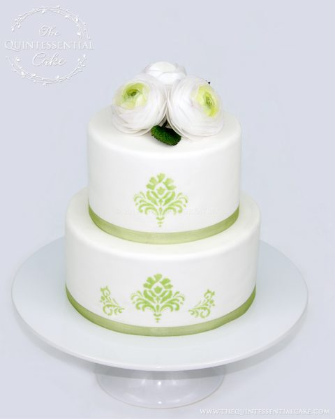 Simple Cake with Green Stencil | The Quintessential Cake | Chicago | Custom Cakes