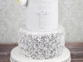 Grey Ruffles Christening Cake