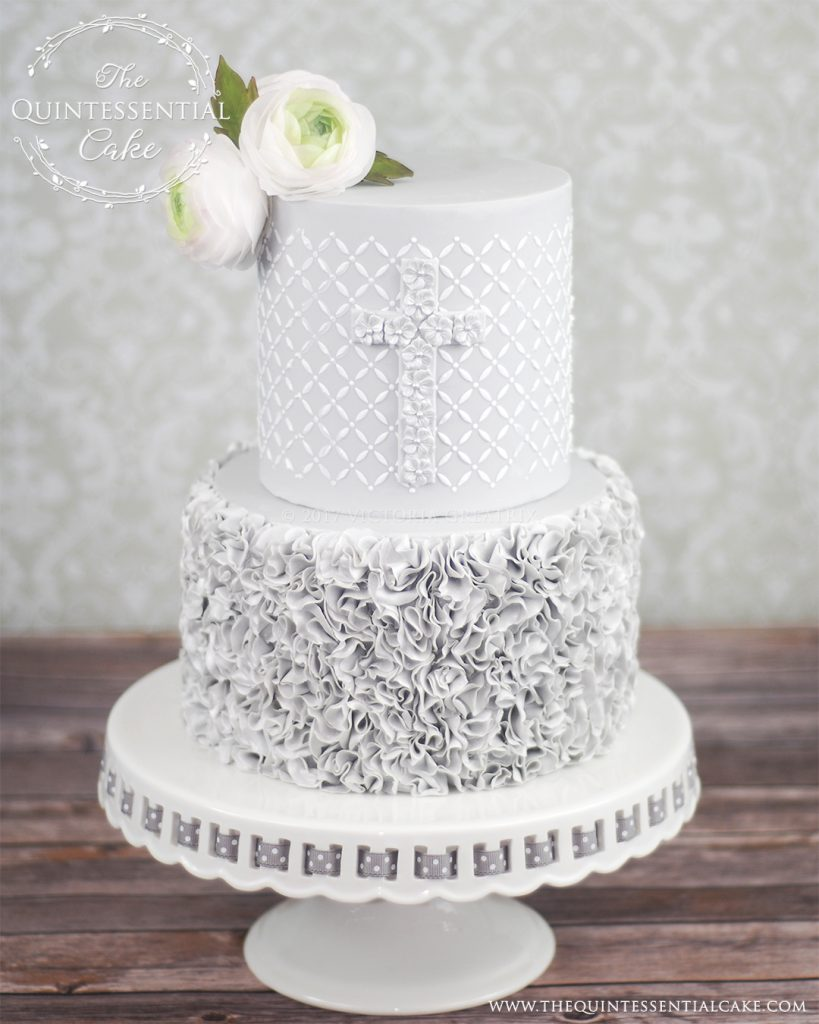 Grey Ruffles Christening Cake | The Quintessential Cake | Chicago | Custom Cakes