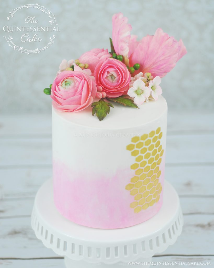 Watercolor & Honeycomb Cake | The Quintessential Cake | Chicago | Custom Cakes