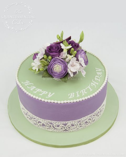 Lilac & Green Floral Cake | The Quintessential Cake | Chicago | Custom Cakes