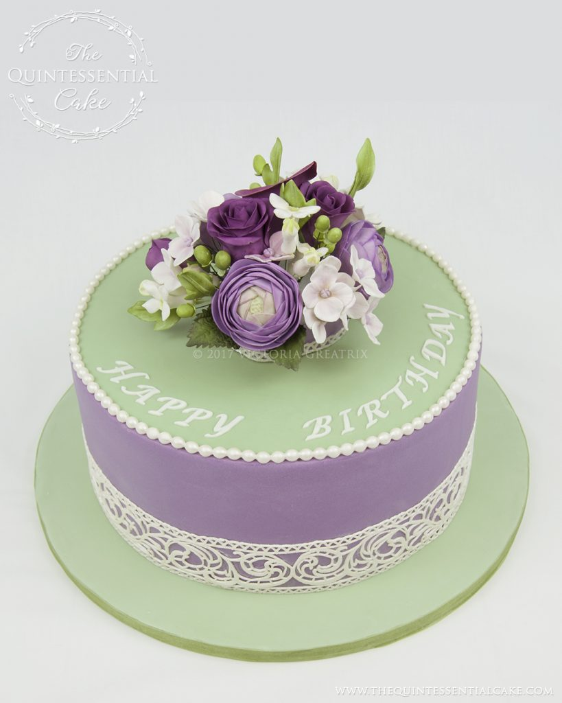 Lilac & Green Floral Cake