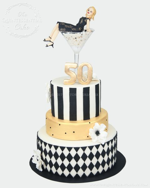 Martini Girl 50 Birthday Cake | The Quintessential Cake | Chicago | Custom Cakes