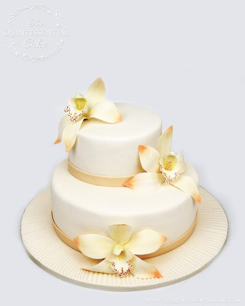 Small Wedding Cake with Sugar Orchids | The Quintessential Cake | Chicago | Custom Cakes