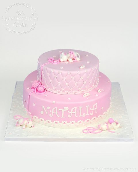 Pink Kitten & Yarn Cake | The Quintessential Cake | Chicago | Custom Cakes