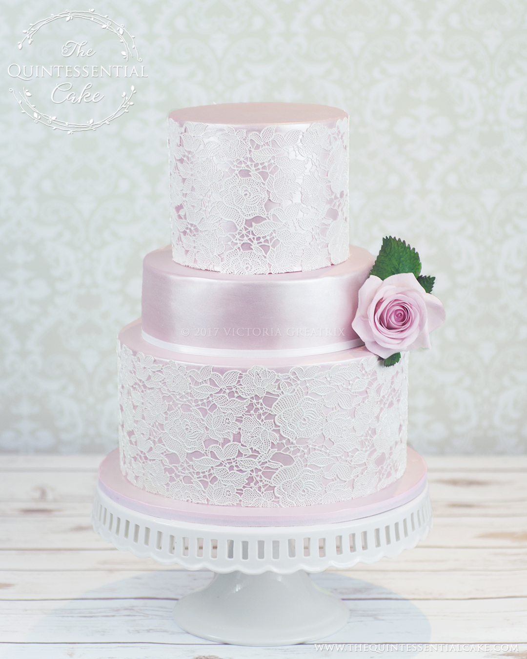 Pink Lace Wedding Cake | The Quintessential Cake | Chicago | Luxury Wedding Cakes