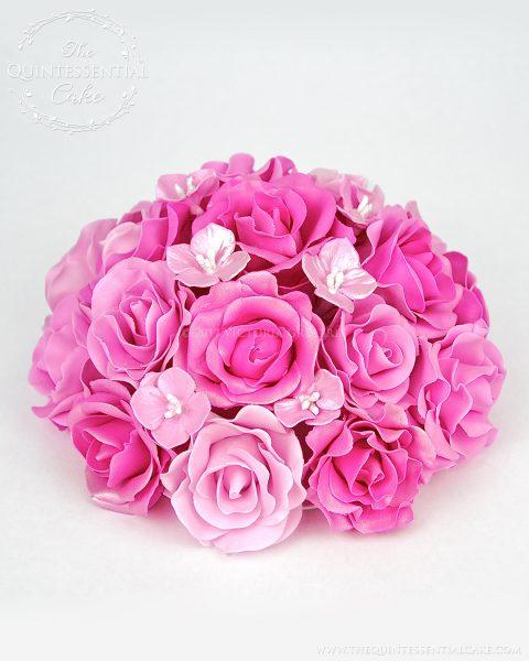Pink Rose Topper | The Quintessential Cake | Chicago | Custom Cakes