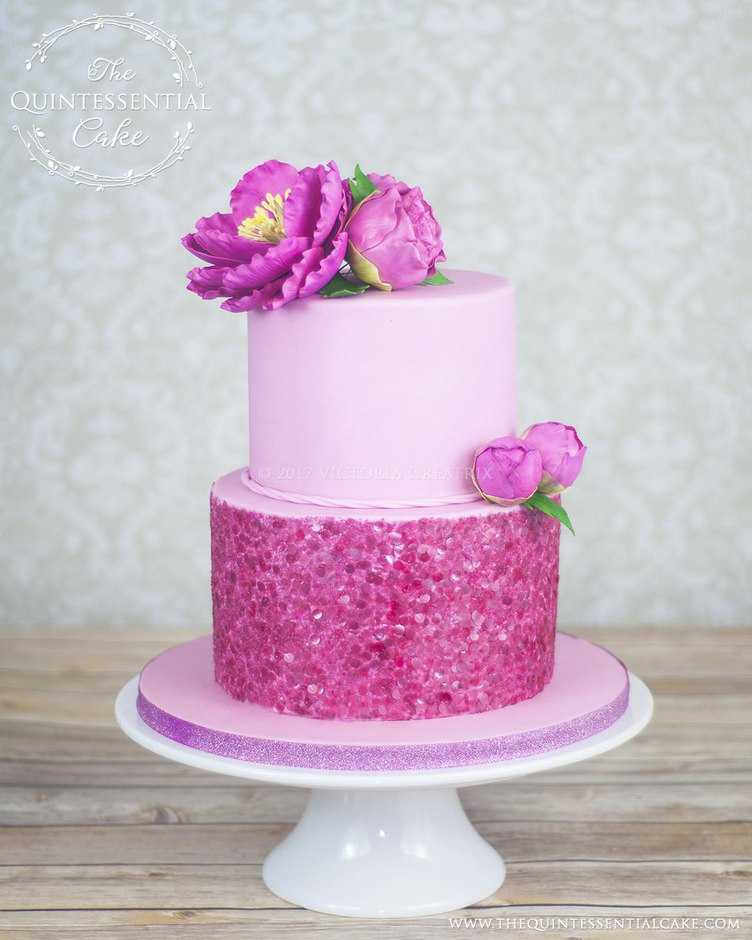 Pink Sequins Peonies Birthday Cake
