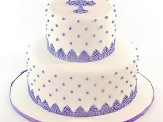 Purple Dragee Christening Cake