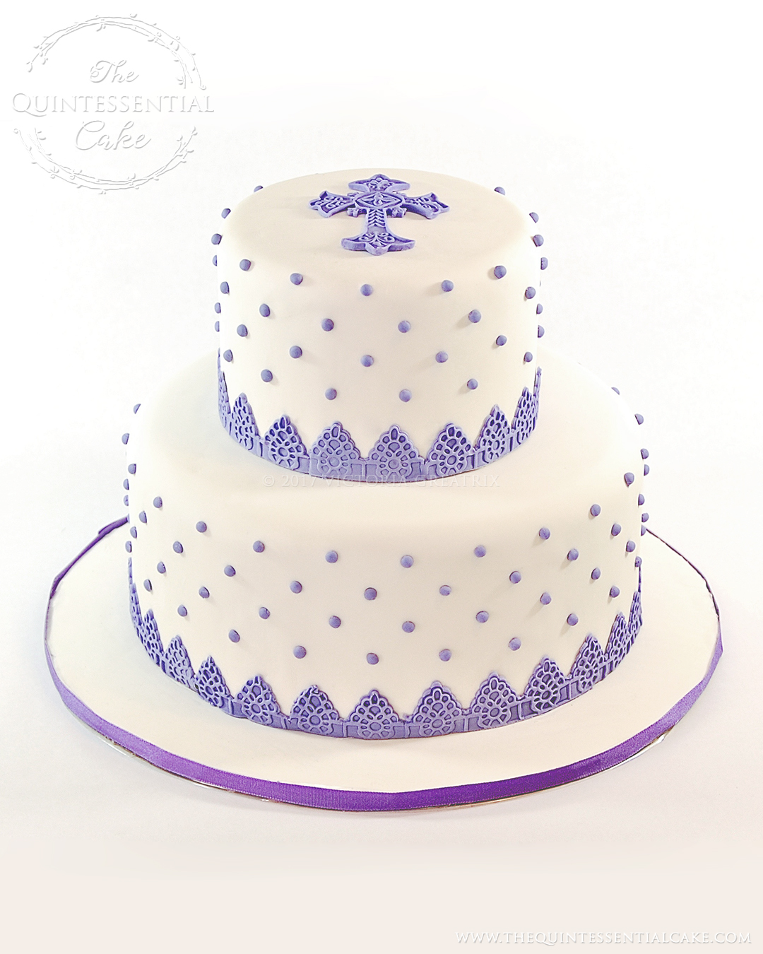 Purple Dragee Christening Cake