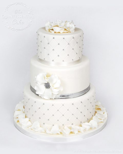 Silver Dragee Wedding Cake | The Quintessential Cake | Chicago | Luxury Wedding Cakes