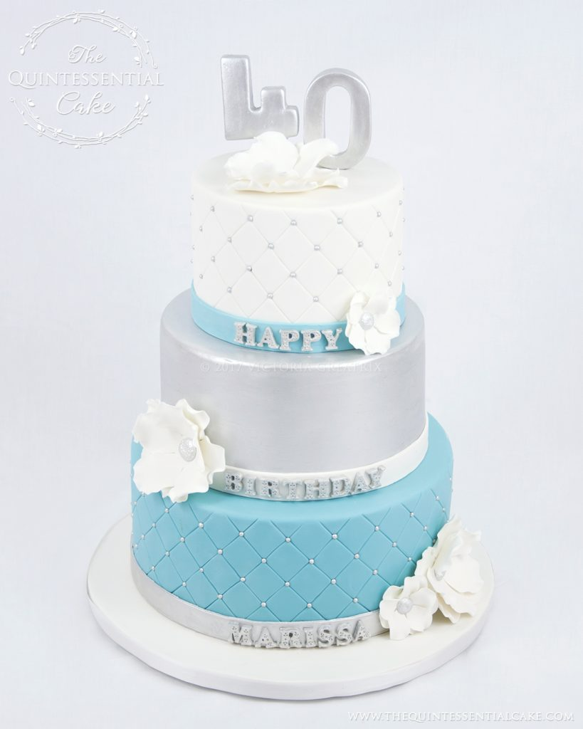Silver Turquoise 40th Birthday Cake