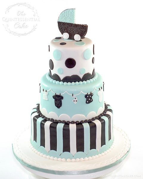 Stroller Baby Shower Cake | The Quintessential Cake | Chicago | Custom Cakes