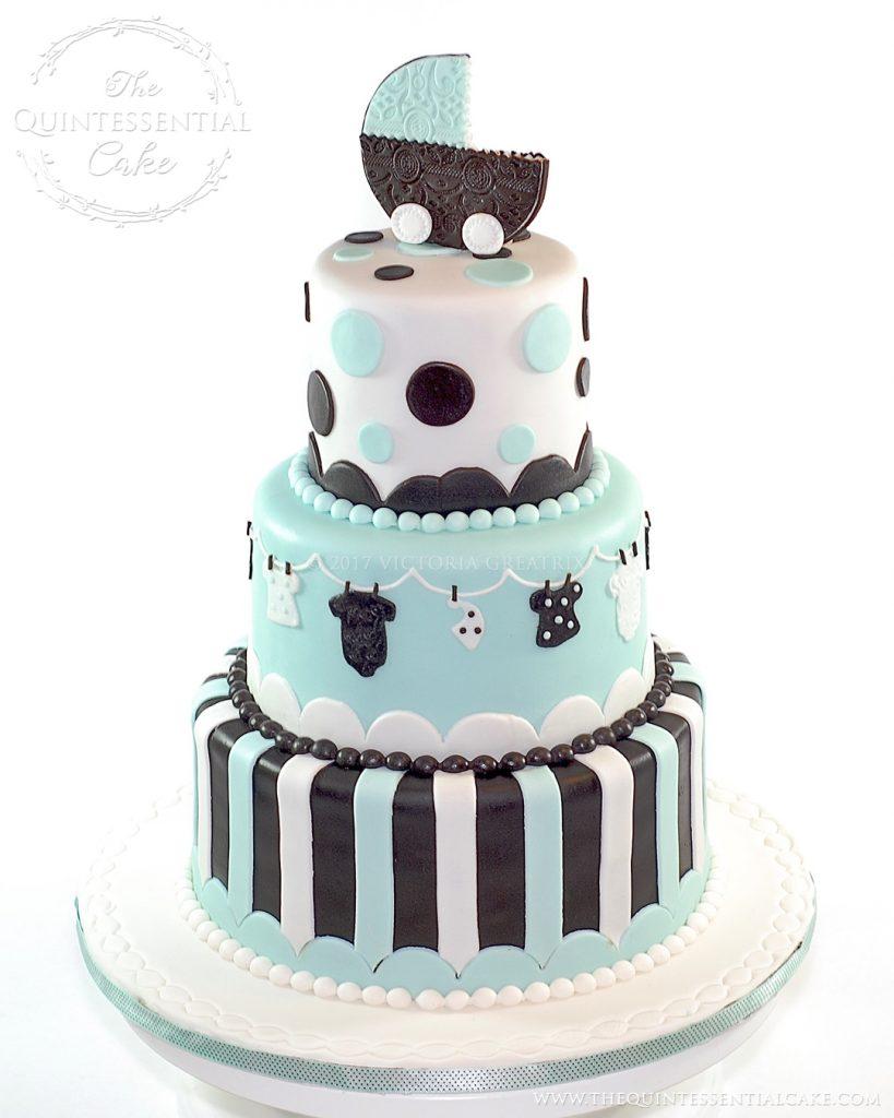 Stroller Baby Shower Cake | The Quintessential Cake | Chicago | Custom Cakes