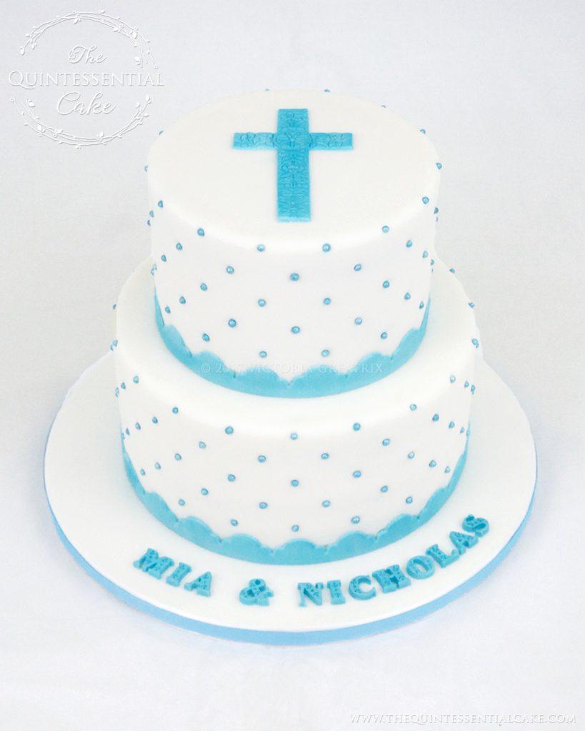 Turquoise Dragee Christening Cake