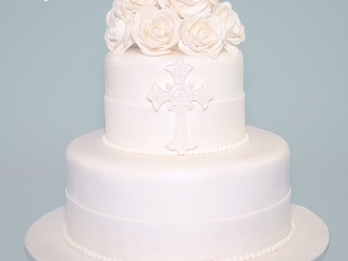 White Rose Christening Cake