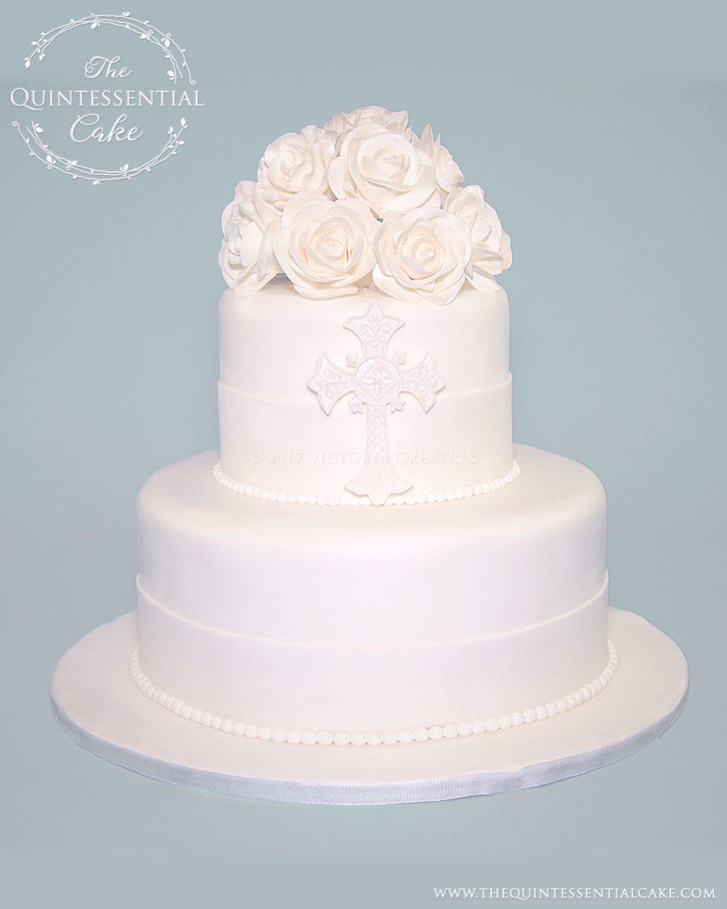 White Rose Christening Cake | The Quintessential Cake | Chicago | Custom Cakes