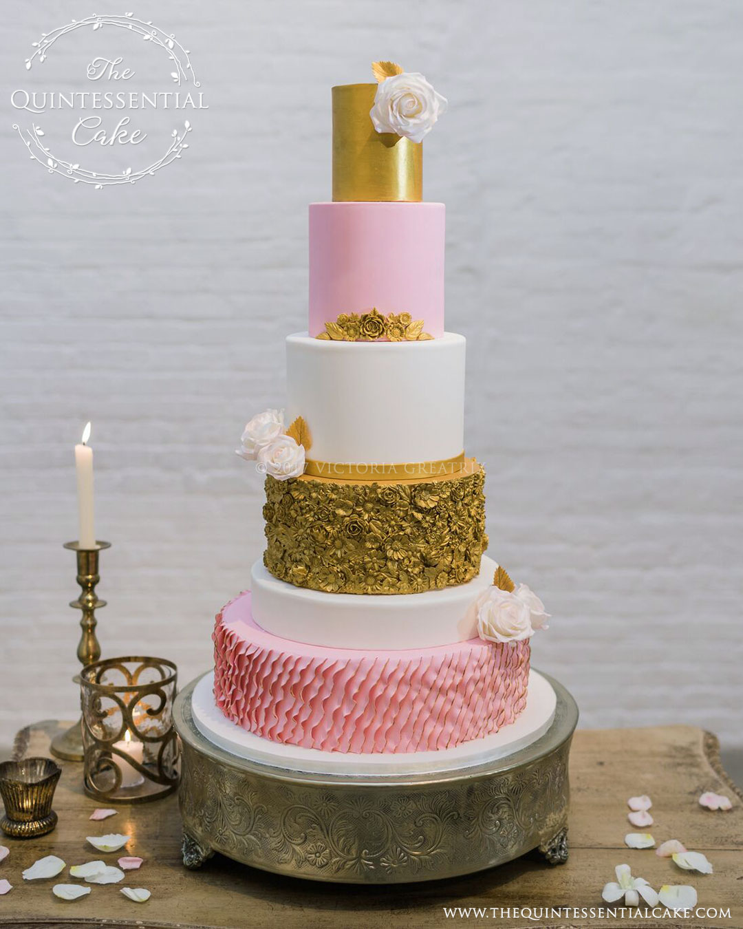 Pink & Gold Wedding Cake with Bas Relief and Sugar Roses.