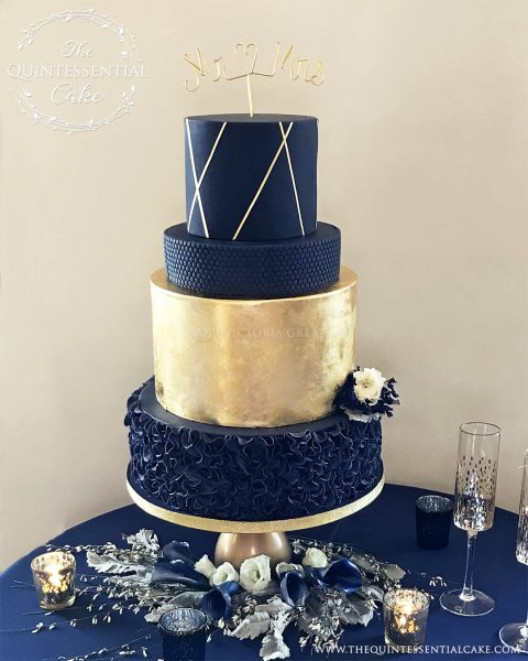 Navy Gold Wedding Cake with Flowers