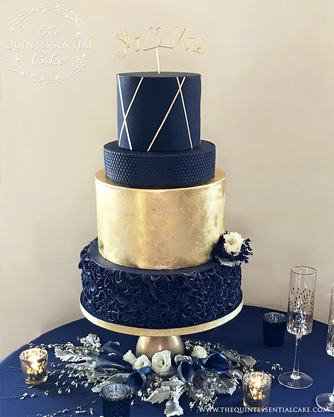 navy blue gold and white wedding cake weddings the quintessential cake 17768