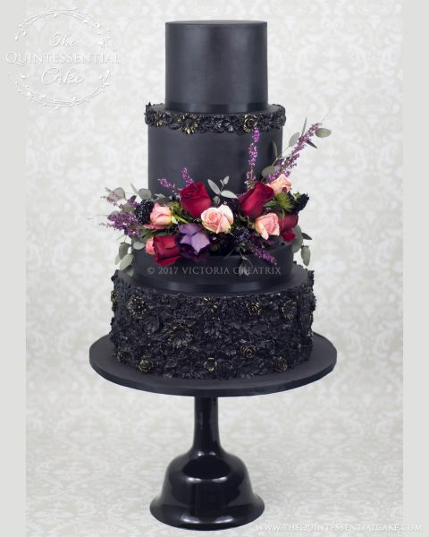 Black Bas Relief Wedding Cake with Fresh Flowers | | The Quintessential Cake | Chicago | Luxury Wedding Cakes | Chez