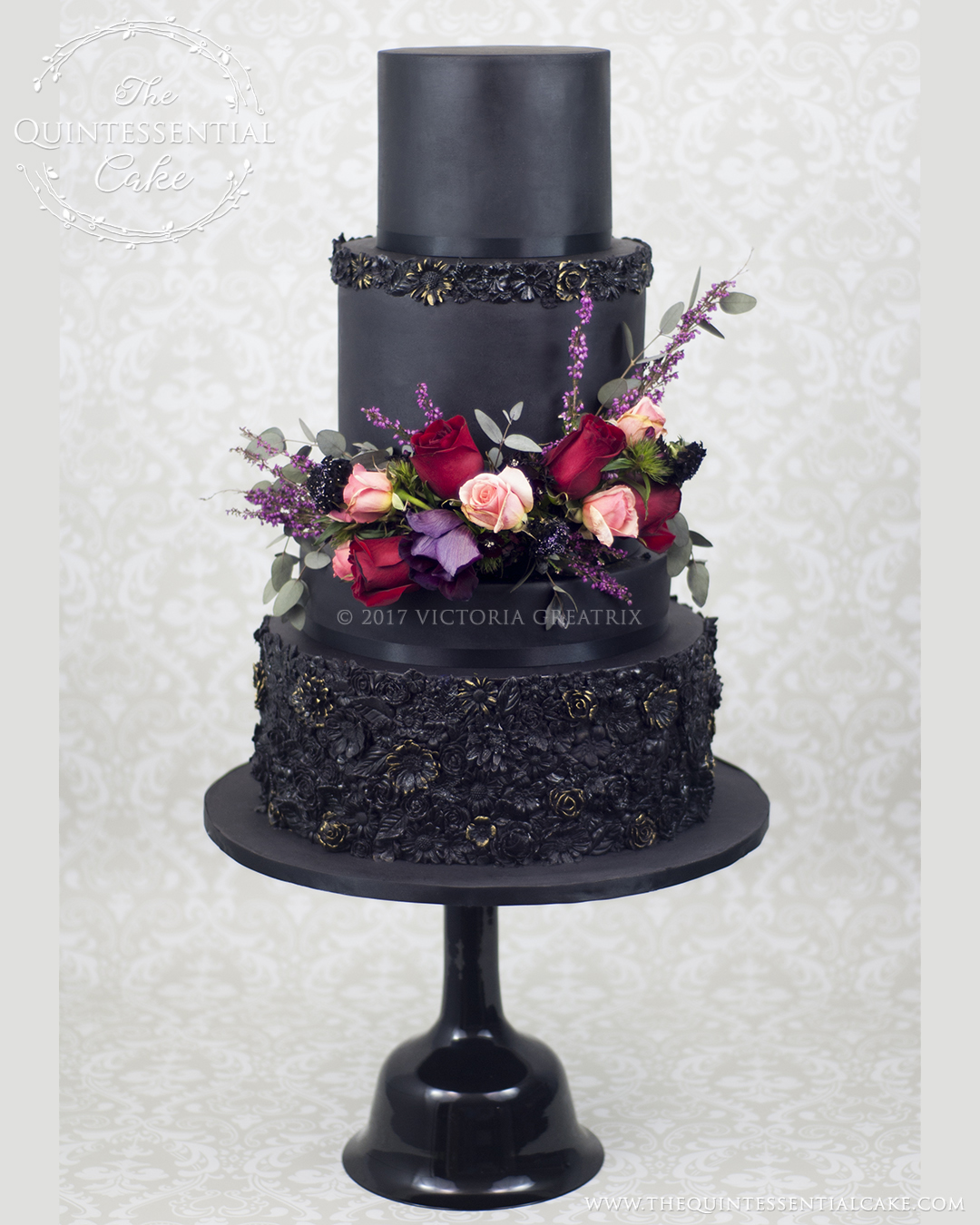 TQC Black Bas Relief Cake