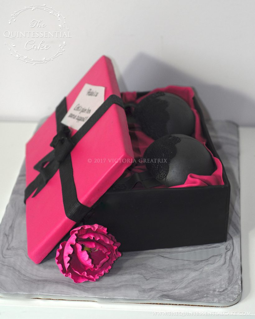 Lingerie Gift Box Birthday Cake | The Quintessential Cake | Chicago | Custom Cakes