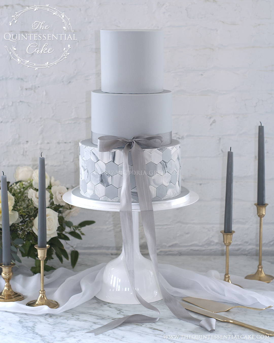 Modern Grey Wedding Cake with Marble Tiling | The Quintessential Cake | Chicago | Luxury Wedding Cakes | Company 251