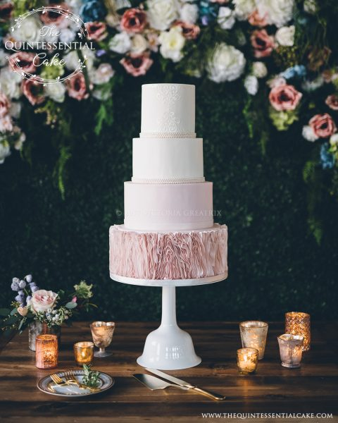 Wedding Dress Inspired Cake The Quintessential Cake | Chicago | Luxury Wedding Cakes