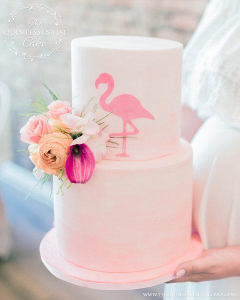 Flamingo Baby Shower | The Quintessential Cake | Chicago | Custom Cakes | Indigo & Violet Studio