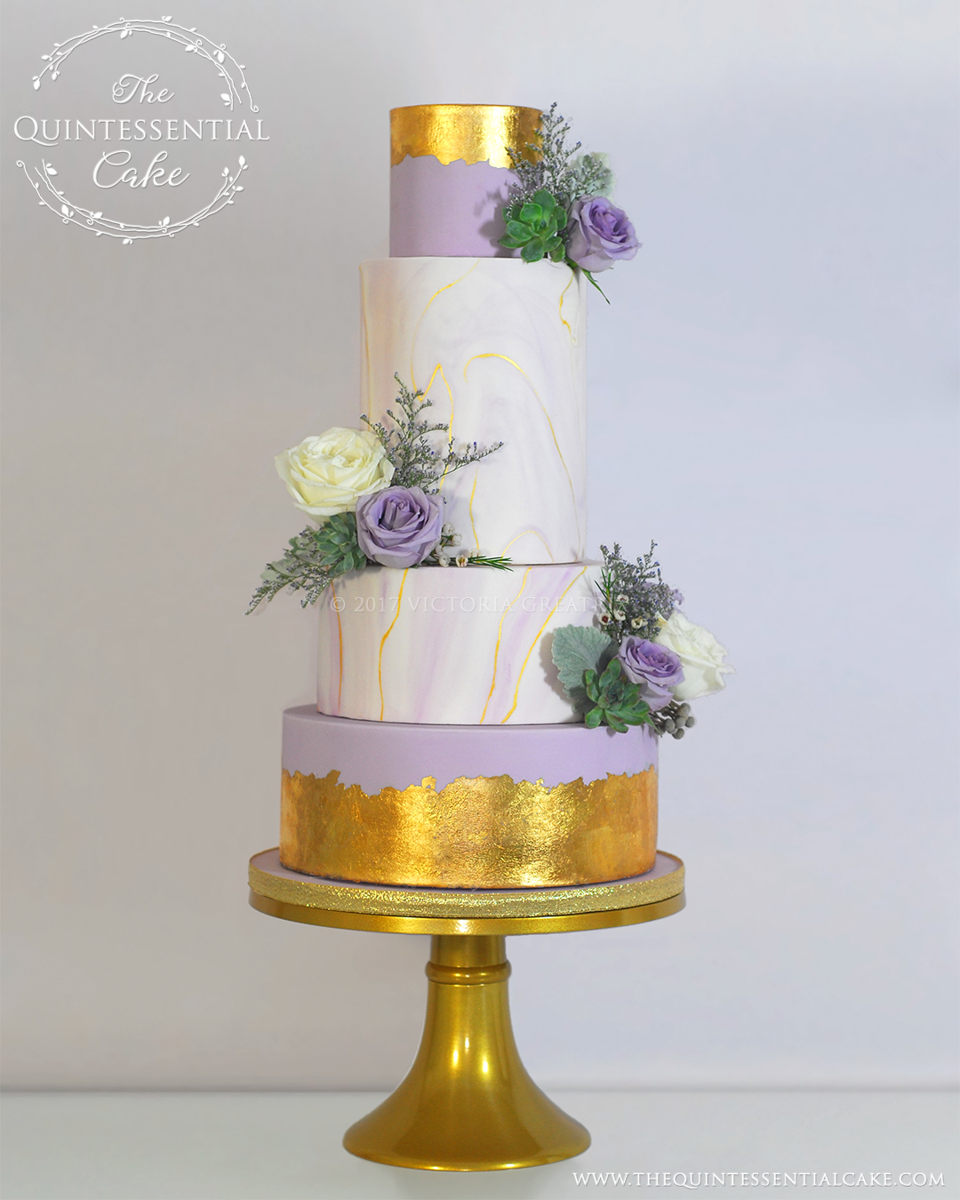 Lavender Marble with Gold Leaf and Fresh Flowers | The Quintessential Cake | Chicago | Luxury Wedding Cakes | Row 24