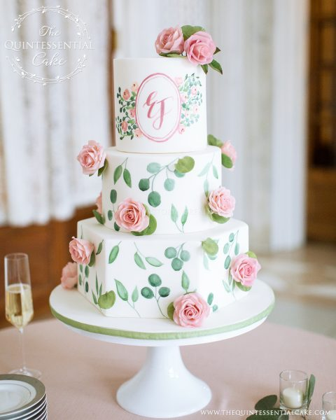 Hand Painted Cake with Sugar Roses | The Quintessential Cake | Chicago | Luxury Wedding Cakes | The Armour House
