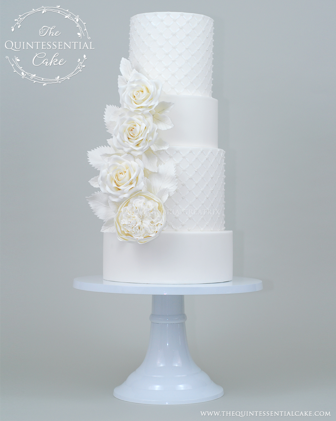 All White Wedding Cake with Sugar Roses and Pearls | The Quintessential Cake | Chicago | Luxury Wedding Cakes