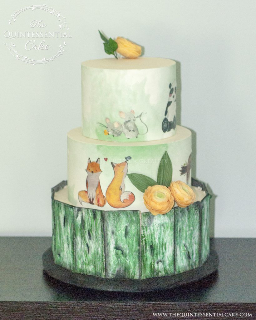 Baby Shower Cake with Hand Painted Animals and Bark Effect | The Quintessential Cake | Chicago | Luxury Wedding Cakes