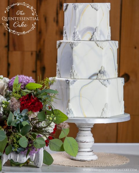 Hexagonal Marble Cake | The Quintessential Cake | Chicago | Luxury Wedding Cakes | Abbey Farms