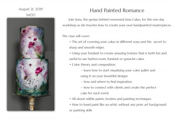 Upcoming Classes: Hand Painted Romance | The Quintessential Cake | Chicago | Luxury Wedding Cakes
