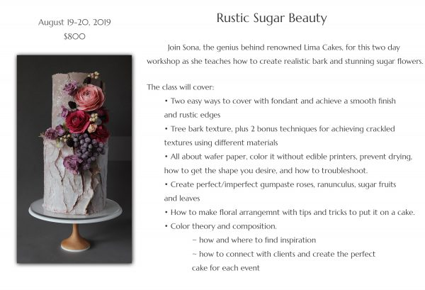 Upcoming Classes: Rustic Sugar Beauty | The Quintessential Cake | Chicago | Luxury Wedding Cakes