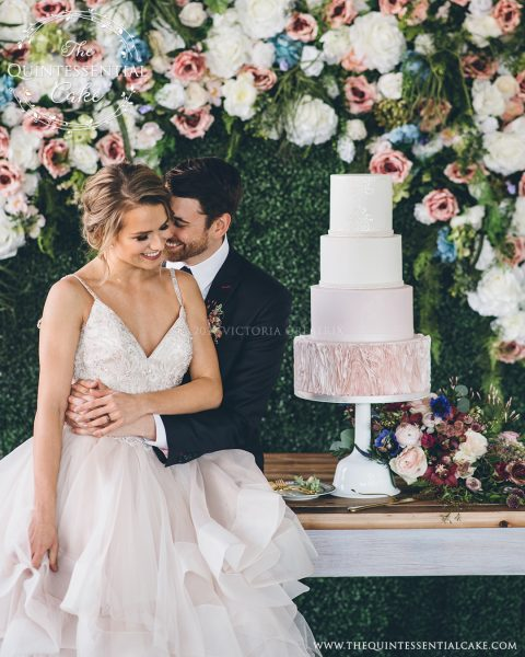 Bride & Groom with Dress Inspired Cake The Quintessential Cake | Chicago | Luxury Wedding Cakes