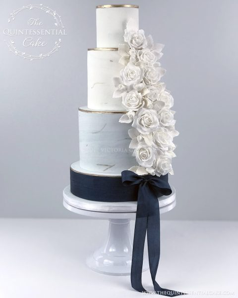 Blue Marble & Sugar Roses | The Quintessential Cake | Chicago | Luxury Wedding Cakes | Gallery 1500