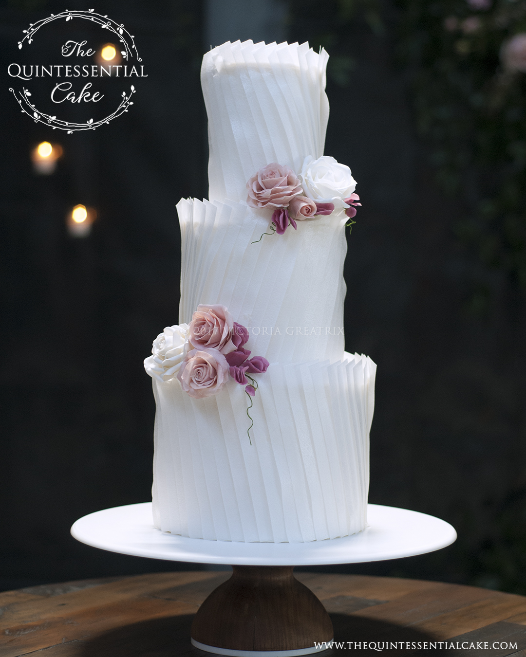 Light and Airy Ruffles with Sugar Roses | The Quintessential Cake | Chicago | Luxury Wedding Cakes | Fairlie Chicago
