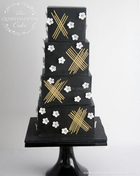 TQC Black Geometric with White Blossoms | The Quintessential Cake | Chicago | Luxury Wedding Cakes | Moreton Arboretum
