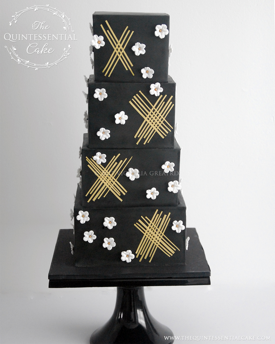 TQC Black Geometric with White Blossoms | The Quintessential Cake | Chicago | Luxury Wedding Cakes | Moreton Arboretum