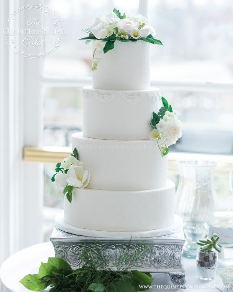 White Wedding Cake with various textures and Sugar Flowers | The Quintessential Cake | Chicago | Luxury Wedding Cakes | The Armour House