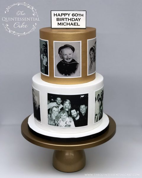 TQC 60th Birthday Photo Cake | The Quintessential Cake | Gibson's Steakhouse | Oak Brook | Chicago | Custom Cakes