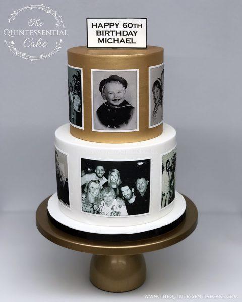TQC 60th Birthday Photo Cake   The Quintessential Cake   Gibson's Steakhouse   Oak Brook   Chicago   Custom Cakes