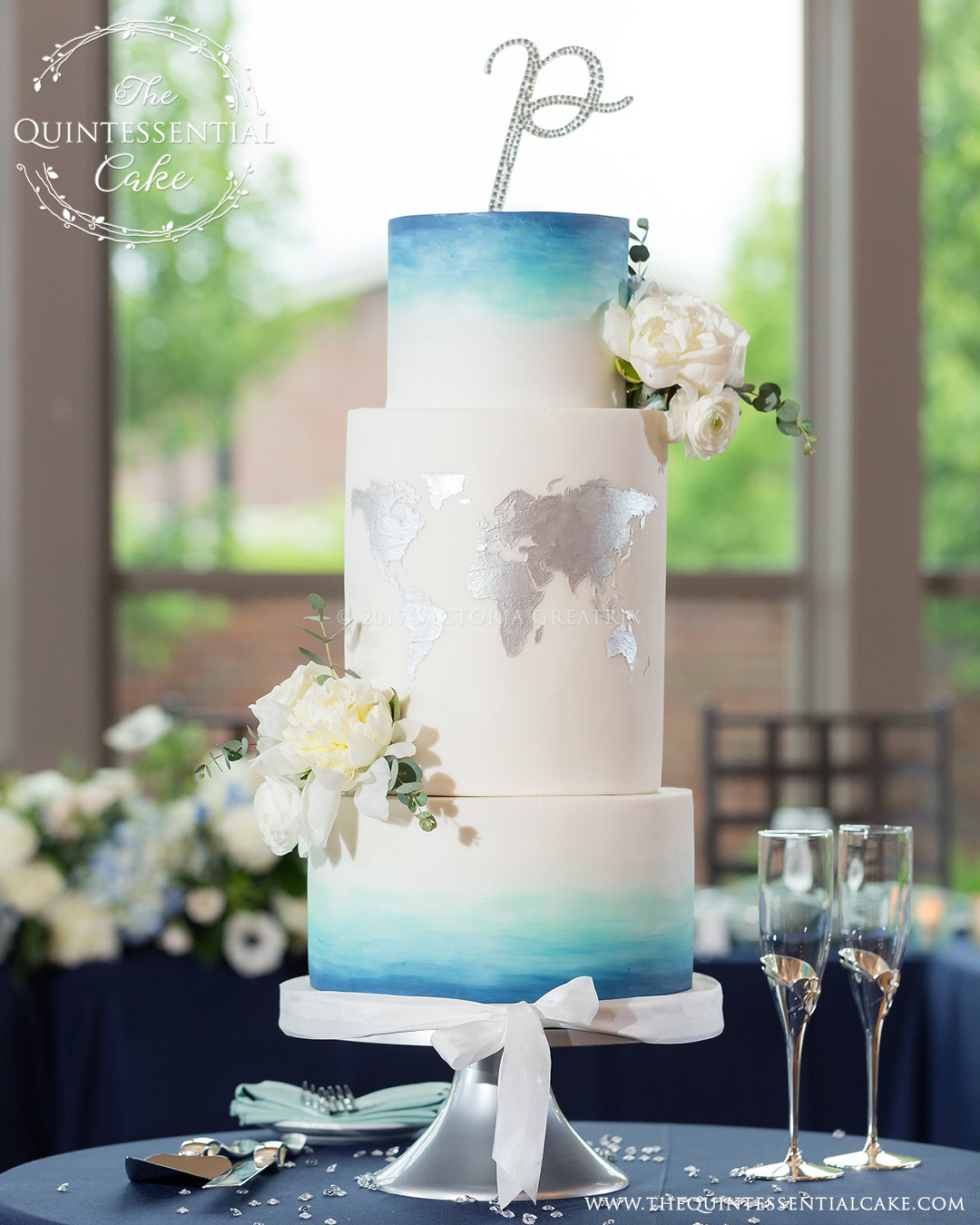 TQC Ombre Watercolor & Map Wedding Cake | The Quintessential Cake | Chicago | Luxury Wedding Cakes | Noah's Event Venue | Being Joy Photography