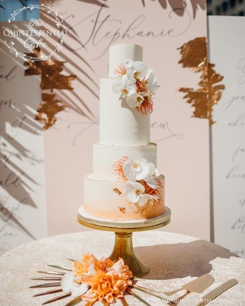TQC Orange Water Color & Orchid Cake | The Quintessential Cake | Chicago | Luxury Wedding Cakes | The Odyssey | Chicago Style Weddings Designer's Challenge | Chicago River