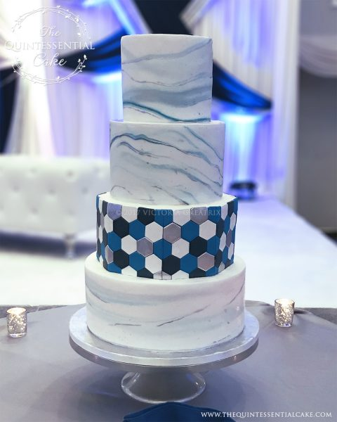 TQC Blue Marble & Tile Wedding Cake | The Quintessential Cake | Chicago | Luxury Wedding Cakes | Ashton Place