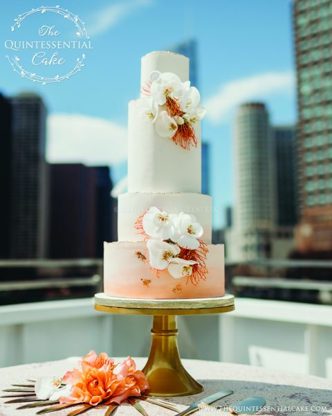 TQC Orange Water Color & Orchid Wedding Cake | The Quintessential Cake | Chicago | Luxury Wedding Cakes | The Odyssey | Chicago Style Weddings Designer's Challenge | Chicago River